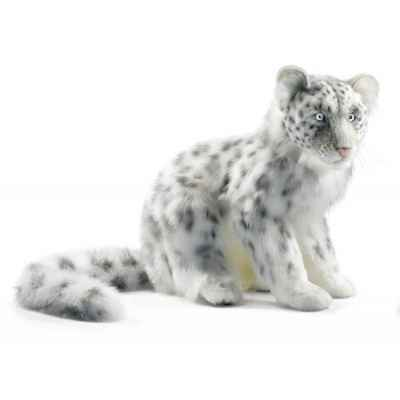 Peluche leopard des neiges assis 40cmh/45cml anima -4355