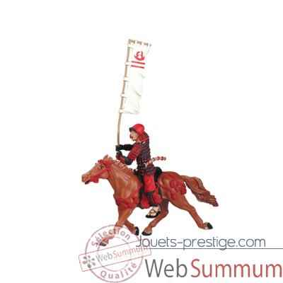 Figurine le cheval fauve harnachement rouge -65708