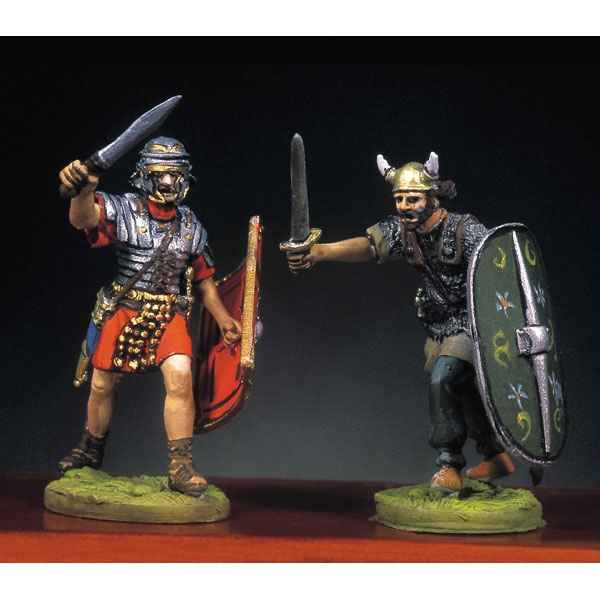 Figurine - Soldat romain et barbare en train de lutter  I - RA-013