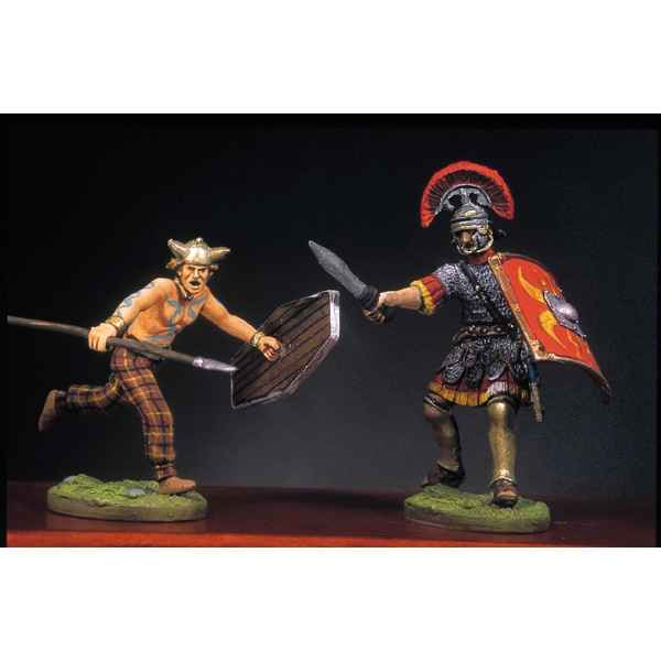 Figurine - Soldat romain et barbare en train de lutter  III - RA-016