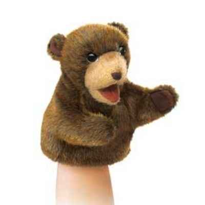 Marionnette peluche  petit ours brun assise folkmanis 2926