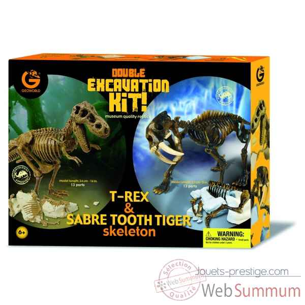 Gw dino excav kit  pack duo - trex (34cm) & tigre dents de sabre (23cm) Geoworld -CL166K