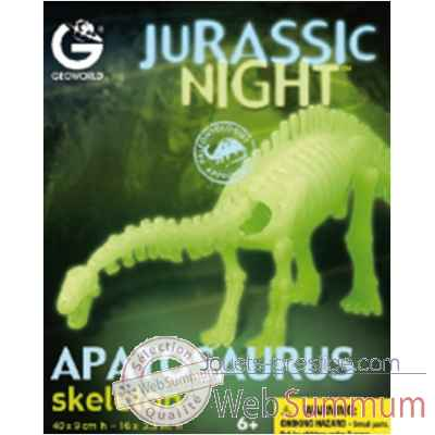 Gw jurassic night - apatosaurus phosphorescent - 40cm Geoworld -CL287K