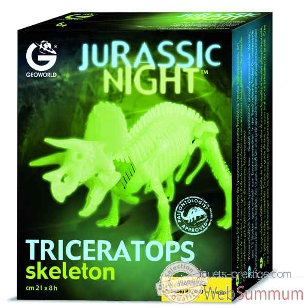 Gw jurassic night - triceratops phosphorescent - 21cm Geoworld -CL140K