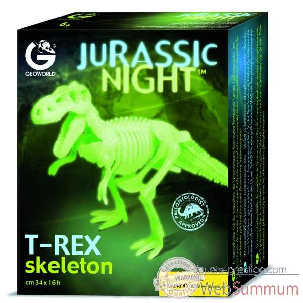 Gw jurassic night - tyrannosaurus rex phosphorescent - 34cm Geoworld -CL141K