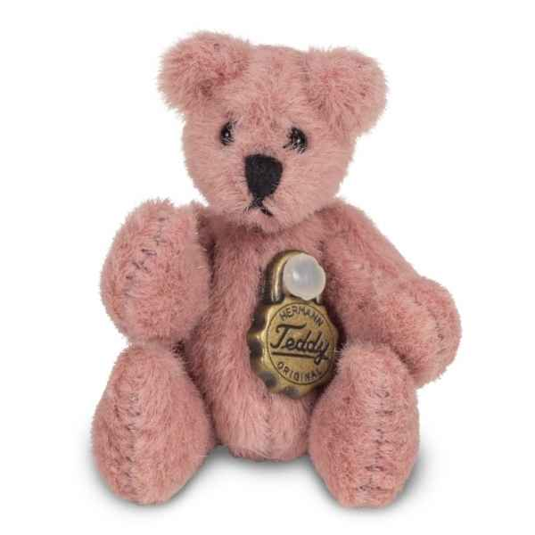 Mini peluche de collection ours teddy rose 4 cm Hermann -15447 1