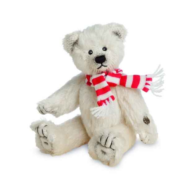Ours en peluche de collection ours polaire avec echarpe 14 cm hermann -15499 0