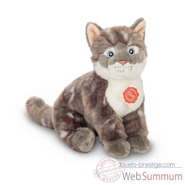 Peluche chat assis tigre gris 24 cm hermann teddy -91828 8