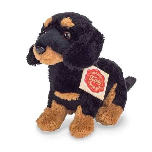 Peluche chien teckel assis brun noir 19 cm hermann teddy -91944 5
