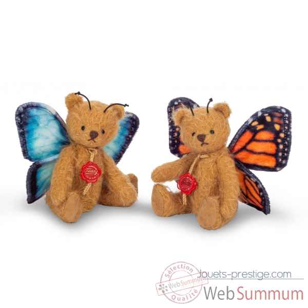 Peluche miniature original hermann teddy nounours papillon orange 14 cm -11748 3
