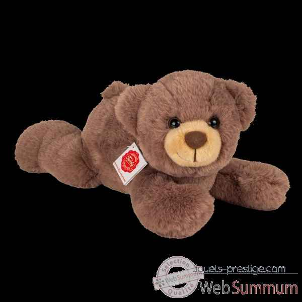 Peluche Ours teddy allonge marron chocolat 32 cm hermann teddy collection -91370 2