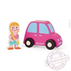 Story set city voiture rose + fille Janod -J08563