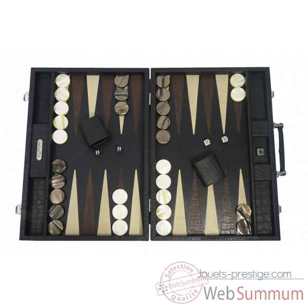 Backgammon alain cuir facon alligator competition noir -B672-n