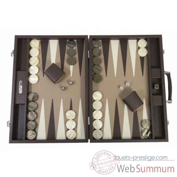 Backgammon baptiste cuir buffle competition chocolat -B652-c