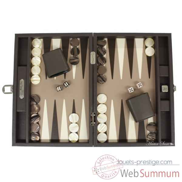 Backgammon baptiste cuir buffle medium chocolat -B52L-c