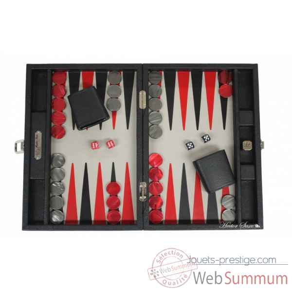 Backgammon baptiste cuir buffle medium noir -B52L-n