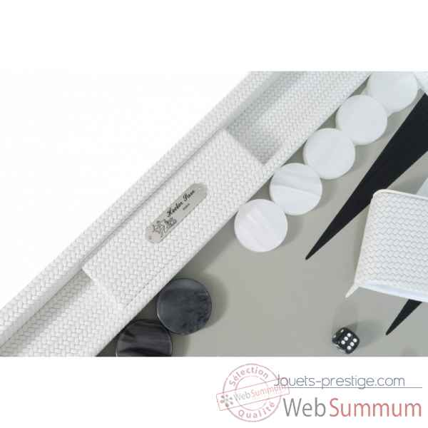 Backgammon camille cuir couture competition blanc -B671L-b -1