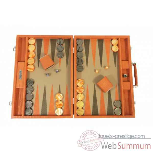 Backgammon camille cuir couture competition orange -B671L-o