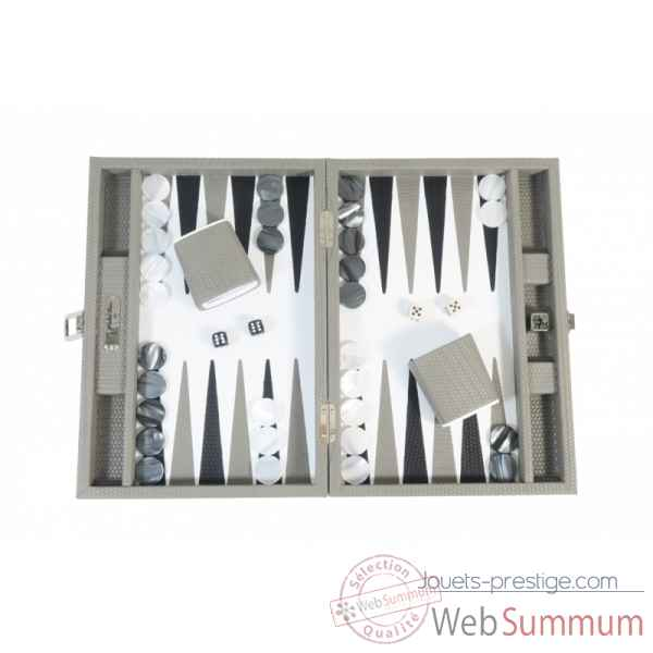 Backgammon camille cuir couture medium acacia -B71L-a