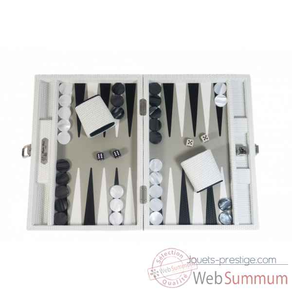 Backgammon camille cuir couture medium blanc -B71L-b