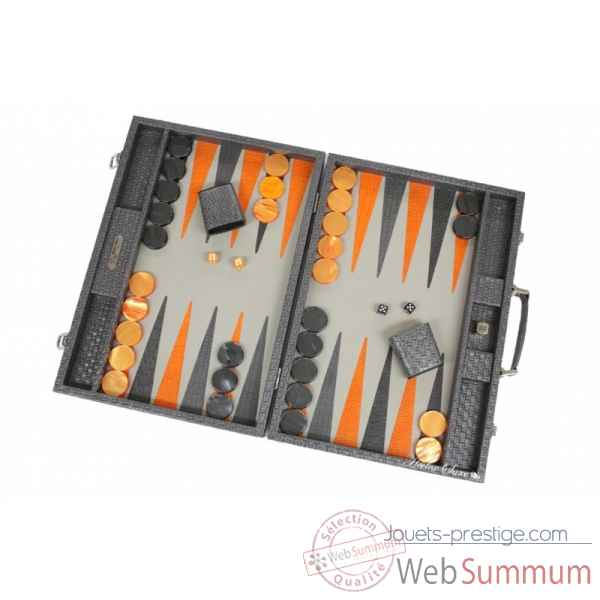 Backgammon noe cuir natte competition gris -B667-g -8
