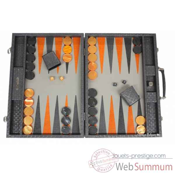 Backgammon noe cuir natte competition gris -B667-g