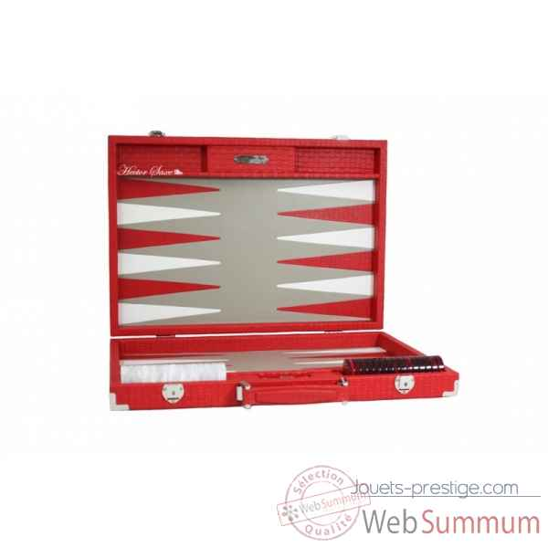 Backgammon noe cuir natte competition rouge -B667-r -5