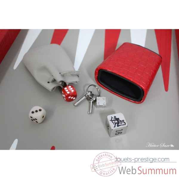 Backgammon noe cuir natte competition rouge -B667-r -7