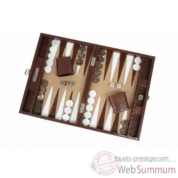 Backgammon noe cuir natte medium chocolat -B67L-c -9