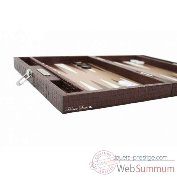Backgammon noe cuir natte medium chocolat -B67L-c -11