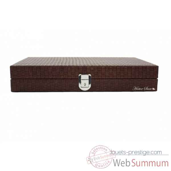 Backgammon noe cuir natte medium chocolat -B67L-c -2