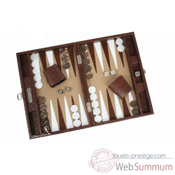 Backgammon noe cuir natte medium chocolat -B67L-c -3