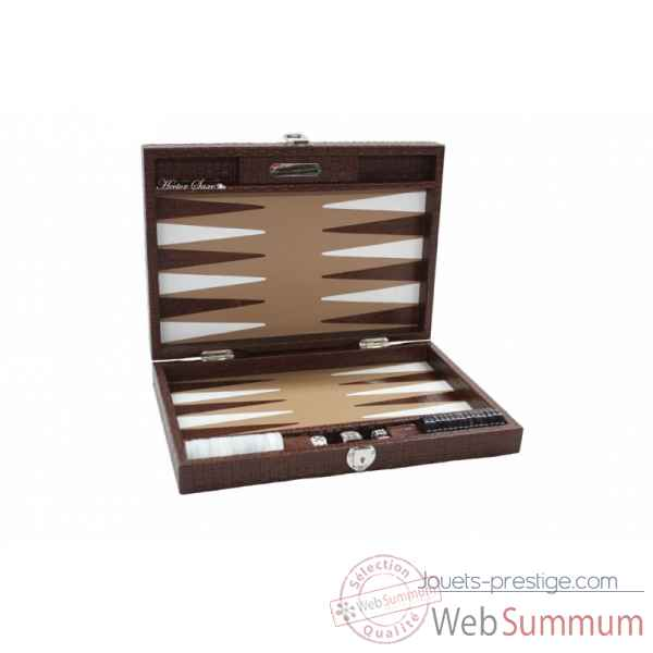 Backgammon noe cuir natte medium chocolat -B67L-c -4