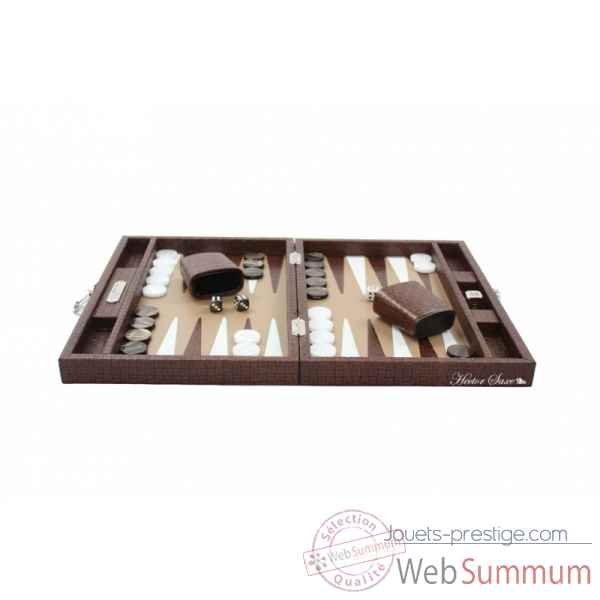 Backgammon noe cuir natte medium chocolat -B67L-c -5