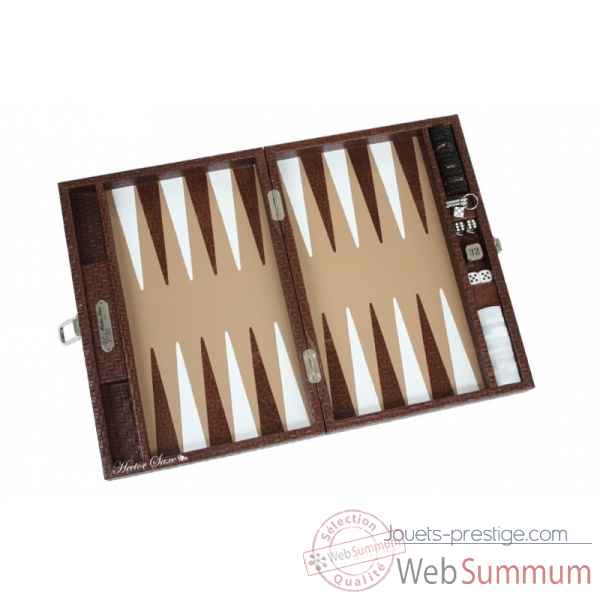Backgammon noe cuir natte medium chocolat -B67L-c -6