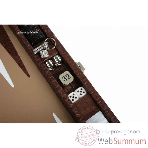 Backgammon noe cuir natte medium chocolat -B67L-c -8