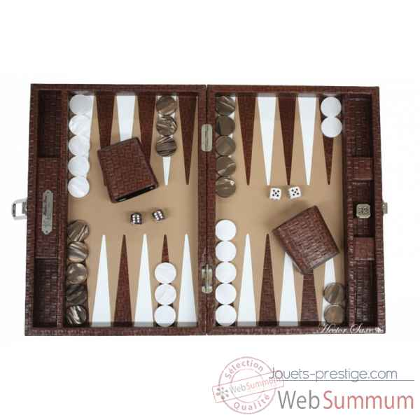 Backgammon noe cuir natte medium chocolat -B67L-c