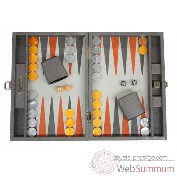 Backgammon noe cuir natte medium gris -B67L-g