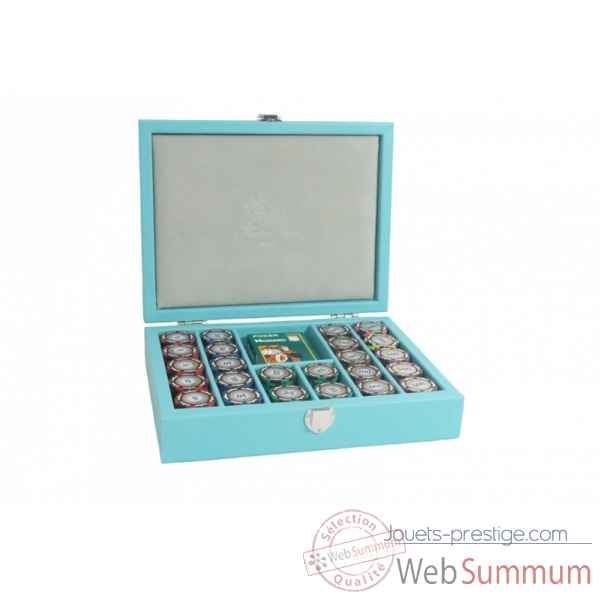 Coffret poker cuir buffle turquoise -C801C-t
