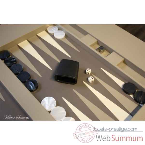 Table de backgammon cuir buffle grise -TAB1001C-g -3