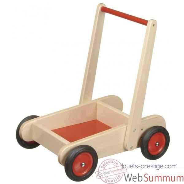 charrette en bois pousser naturel et rouge 0813 dans jouets pousser jouets. Black Bedroom Furniture Sets. Home Design Ideas