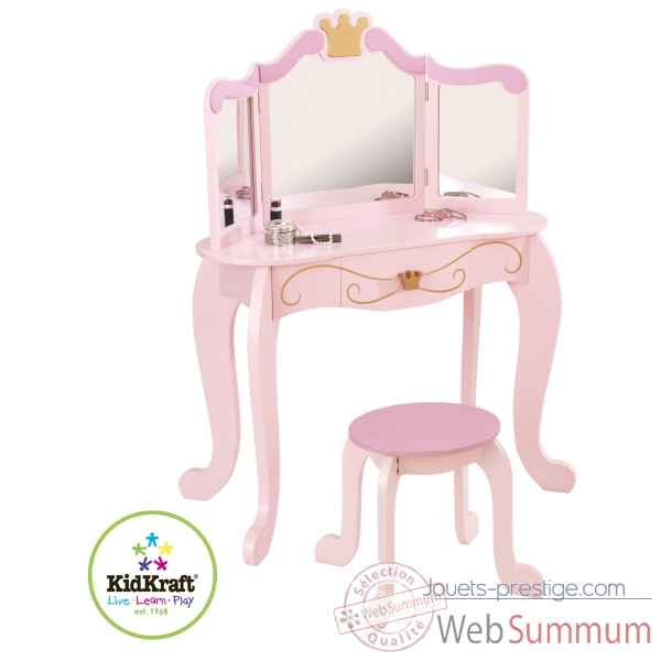 coiffeuse et tabouret princesse kidkraft 76123 dans cuisine enfant kidkraft. Black Bedroom Furniture Sets. Home Design Ideas