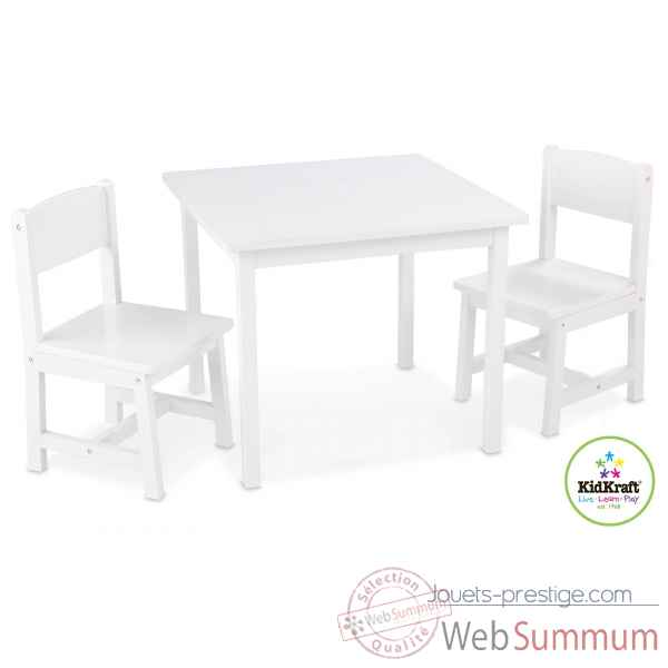 Ensemble table et 2 chaises aspen - blanc KidKraft -21201