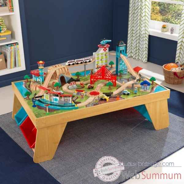 Ensemble train aerocity et table coloris naturel KidKraft -17554