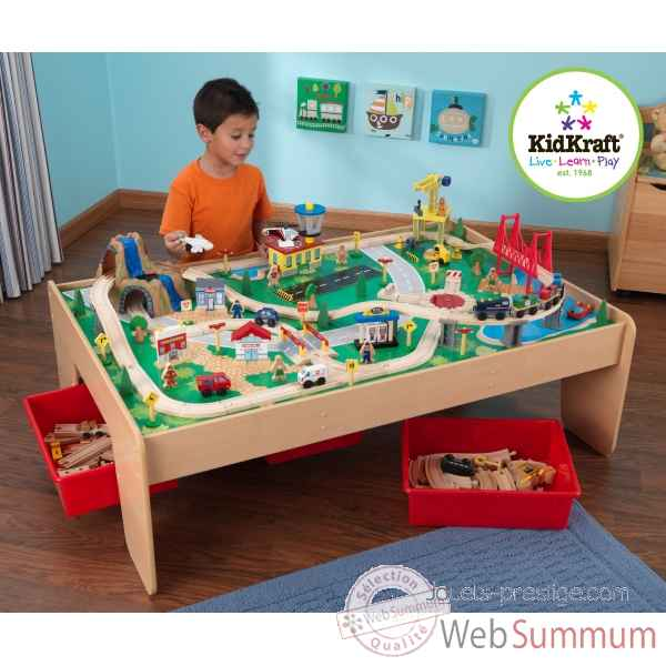 Table de train et circuit en bois waterfall mountain KidKraft 17850  ~ Table Et Circuit Train Bois