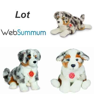 Lot 3 peluches chien Berger Australien Herman - Web Summum Selection -LWS-507
