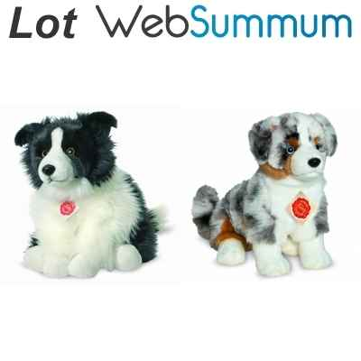 Lot 2 peluches chien Border Collie et Berger Australien -LWS-388