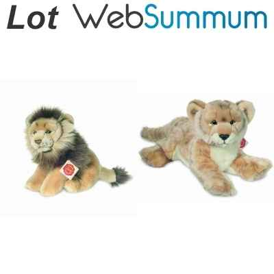 Lot 2 peluches douces Lion et Lionne -LWS-391