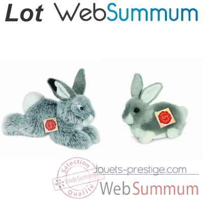 Lot 2 peluches lapin gris -LWS-389