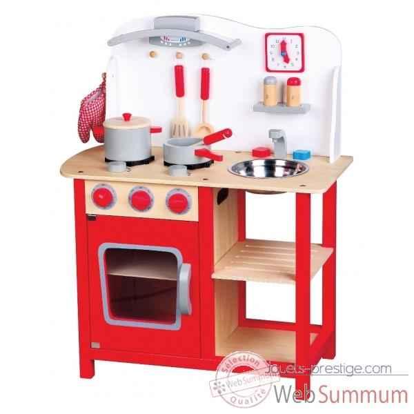 Cuisine en bois blanche et rouge 1055  Photos Jouets